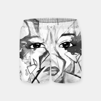 Thumbnail image of rainbow face oil reworked black white Swim Shorts, Live Heroes