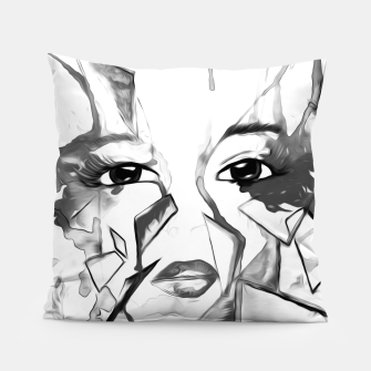 Thumbnail image of rainbow face oil reworked black white Pillow, Live Heroes