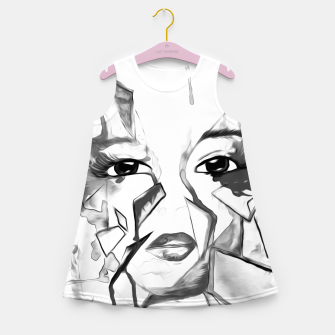 Thumbnail image of rainbow face oil reworked black white Girl's summer dress, Live Heroes