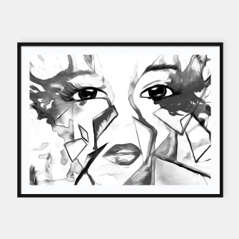 Thumbnail image of rainbow face oil reworked black white Framed poster, Live Heroes