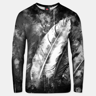 Thumbnail image of black white bird feathers watercolor splatters Unisex sweater, Live Heroes