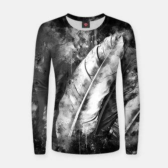Thumbnail image of black white bird feathers watercolor splatters Women sweater, Live Heroes