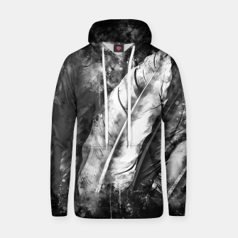 Thumbnail image of black white bird feathers watercolor splatters Hoodie, Live Heroes