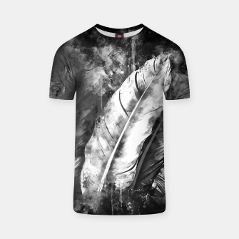 Thumbnail image of black white bird feathers watercolor splatters T-shirt, Live Heroes