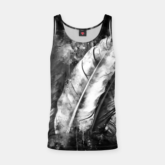 Thumbnail image of black white bird feathers watercolor splatters Tank Top, Live Heroes