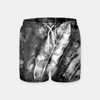 Thumbnail image of black white bird feathers watercolor splatters Swim Shorts, Live Heroes