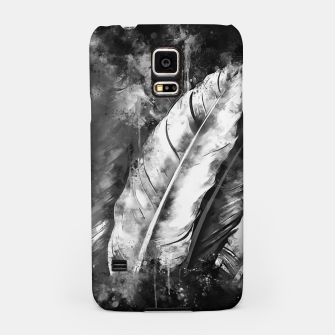 Thumbnail image of black white bird feathers watercolor splatters Samsung Case, Live Heroes