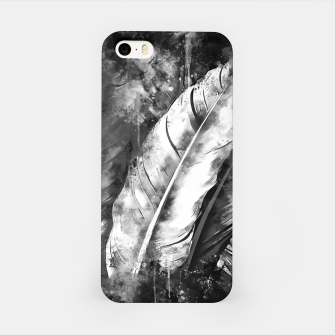 Thumbnail image of black white bird feathers watercolor splatters iPhone Case, Live Heroes