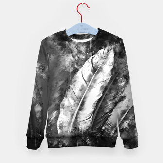 Thumbnail image of black white bird feathers watercolor splatters Kid's sweater, Live Heroes
