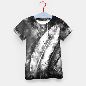 Thumbnail image of black white bird feathers watercolor splatters Kid's t-shirt, Live Heroes