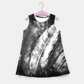 Thumbnail image of black white bird feathers watercolor splatters Girl's summer dress, Live Heroes