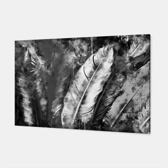 Thumbnail image of black white bird feathers watercolor splatters Canvas, Live Heroes