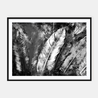 Thumbnail image of black white bird feathers watercolor splatters Framed poster, Live Heroes
