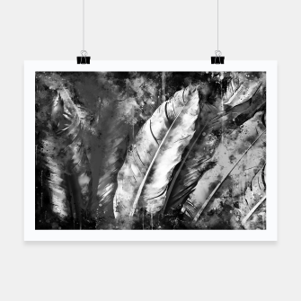 Thumbnail image of black white bird feathers watercolor splatters Poster, Live Heroes