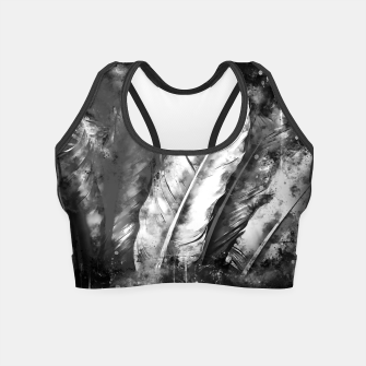 Thumbnail image of black white bird feathers watercolor splatters Crop Top, Live Heroes