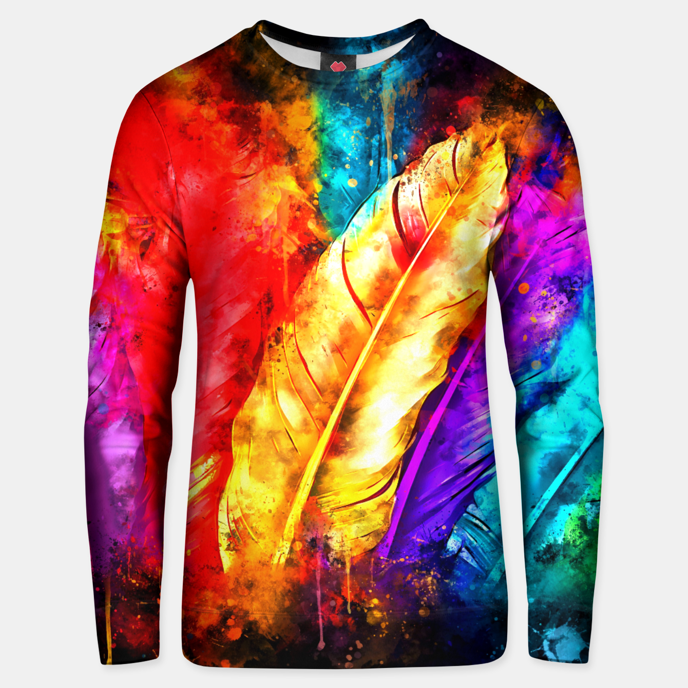 Image of colorful bird feathers watercolor splatters Unisex sweater - Live Heroes