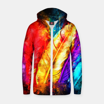 colorful bird feathers watercolor splatters Zip up hoodie thumbnail image