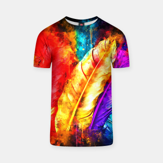 colorful bird feathers watercolor splatters T-shirt thumbnail image