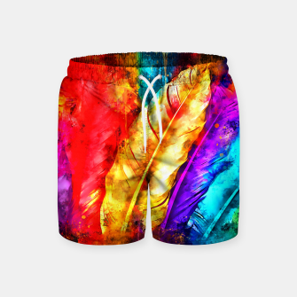colorful bird feathers watercolor splatters Swim Shorts thumbnail image