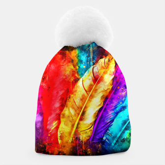 colorful bird feathers watercolor splatters Beanie thumbnail image