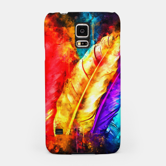 colorful bird feathers watercolor splatters Samsung Case thumbnail image