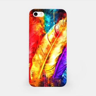 colorful bird feathers watercolor splatters iPhone Case thumbnail image