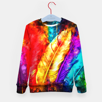 colorful bird feathers watercolor splatters Kid's sweater thumbnail image