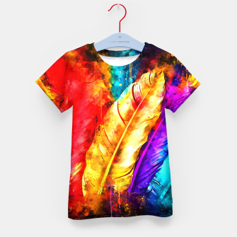 colorful bird feathers watercolor splatters Kid's t-shirt thumbnail image