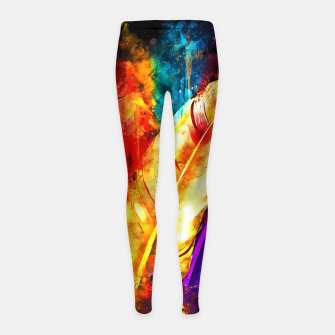 colorful bird feathers watercolor splatters Girl's leggings thumbnail image