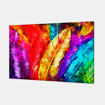 Thumbnail image of colorful bird feathers watercolor splatters Canvas, Live Heroes