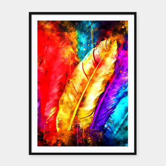 colorful bird feathers watercolor splatters Framed poster thumbnail image