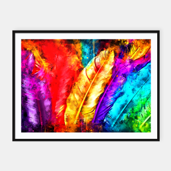 Thumbnail image of colorful bird feathers watercolor splatters Framed poster, Live Heroes