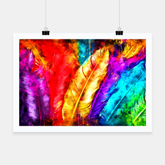 Thumbnail image of colorful bird feathers watercolor splatters Poster, Live Heroes