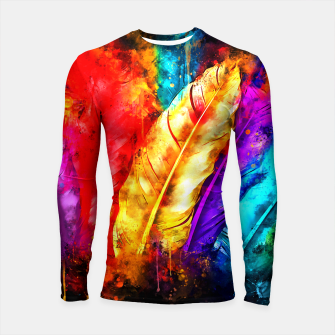 colorful bird feathers watercolor splatters Longsleeve rashguard  thumbnail image
