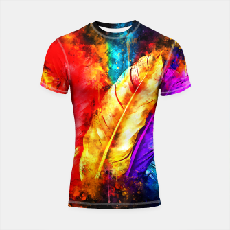 colorful bird feathers watercolor splatters Shortsleeve rashguard thumbnail image