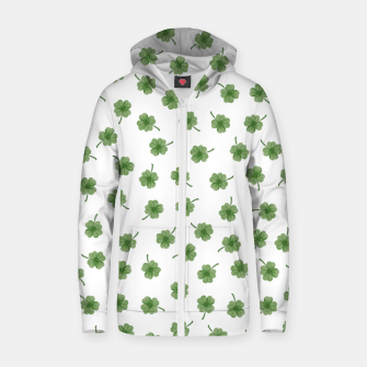 Thumbnail image of Light Green Clover Zip up hoodie, Live Heroes