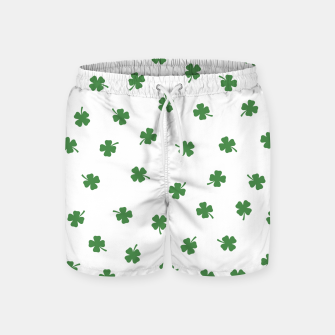 Thumbnail image of Green Shamrocks White Background Swim Shorts, Live Heroes