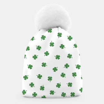 Thumbnail image of Green Shamrocks White Background Beanie, Live Heroes