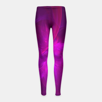 Miniaturka Magenta Illusion Abstract Fractal Art Design Girl's leggings, Live Heroes