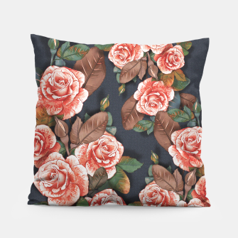 Thumbnail image of Blooming of living coral roses Pillow, Live Heroes