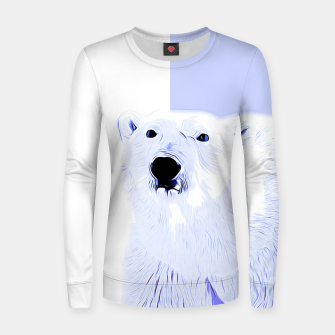 Thumbnail image of polar ice bear vector art cool blue Women sweater, Live Heroes
