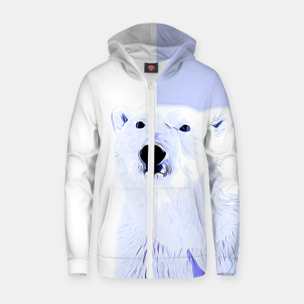 Thumbnail image of polar ice bear vector art cool blue Zip up hoodie, Live Heroes