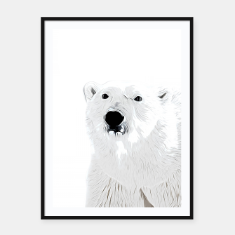 Miniature de image de polar ice bear vector art white Framed poster, Live Heroes