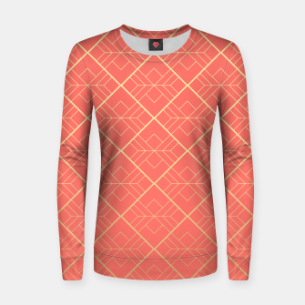 LIVING CORAL AND GOLD Women sweater Bild der Miniatur