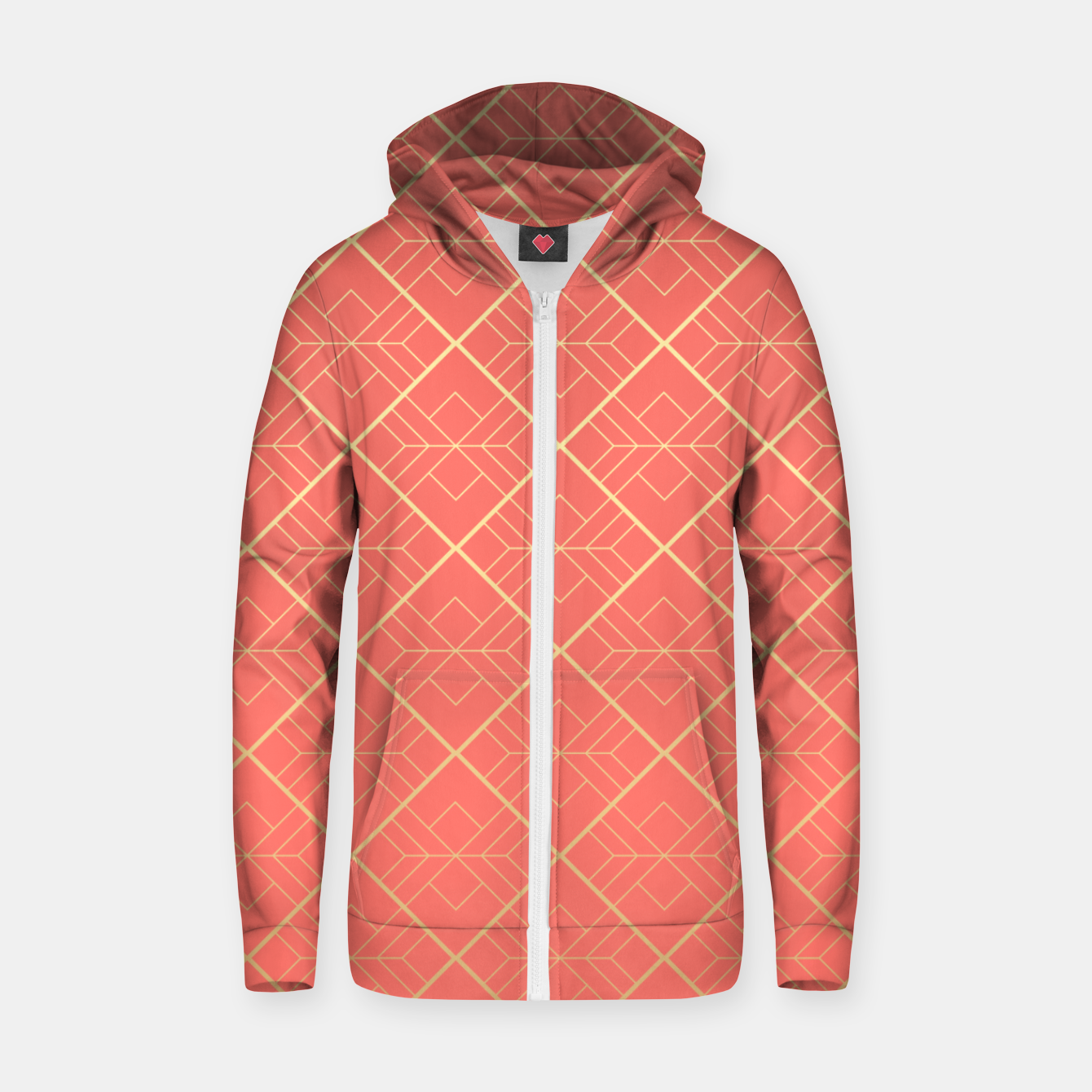 Image of LIVING CORAL AND GOLD Zip up hoodie - Live Heroes