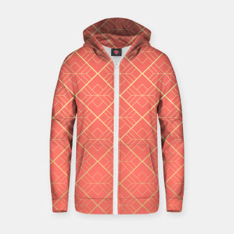LIVING CORAL AND GOLD Zip up hoodie thumbnail image