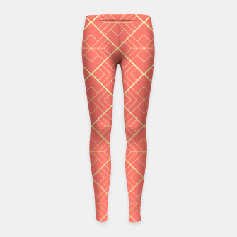 LIVING CORAL AND GOLD Girl's leggings Bild der Miniatur