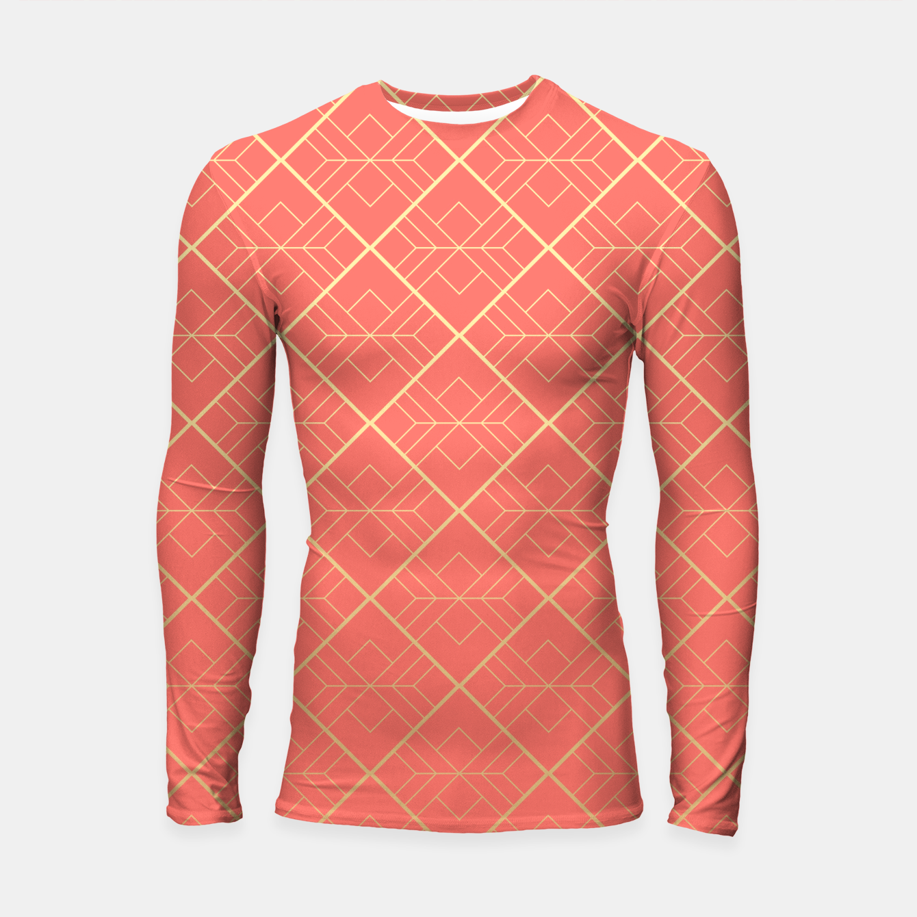 Image of LIVING CORAL AND GOLD Longsleeve rashguard  - Live Heroes