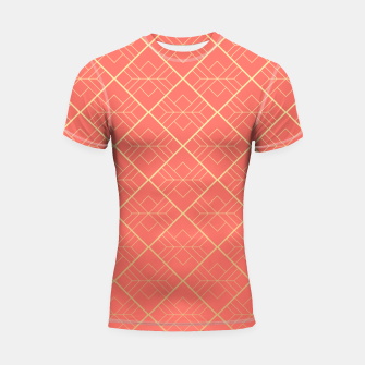 Thumbnail image of LIVING CORAL AND GOLD Shortsleeve rashguard, Live Heroes