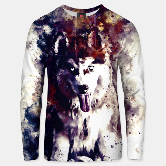 Thumbnail image of husky puppy dog watercolor splatters foggy night Unisex sweater, Live Heroes